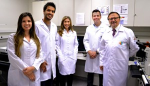 Members of the Neurosciences Laboratory of Brain Institute of PUCRS - Brazil, from left to right: Pâmela Azevedo, Ismael Plentz, Alessandra Sebben, Daniel Marinowic, and Jaderson Costa DaCosta.