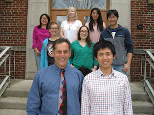 Members of the Finer Laboratory at The Ohio State University including authors John Finer and Zhifen Zhang (L-R, front row). Other laboratory members shown include Natalia Zappernick, Grace Freundlich, Andika Gunadi (L-R, middle row), Ning Zhang, Cheri Nemes and Xin Li (L-R, top row)